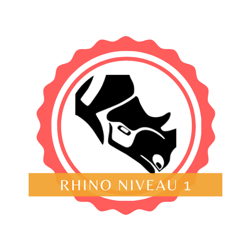 open badge rhinoceros 3D